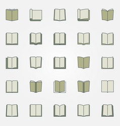 Colorful book icons set vector