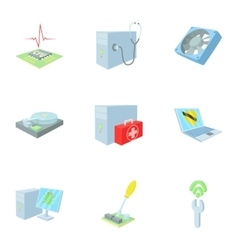 Computer repair icons set cartoon style vector