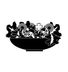 contour delicious fresh organ salad in the bowl vector image