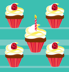 cupcakes for birthday vector image vector image