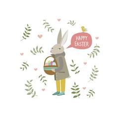 Easter rabbit with little bird vector