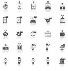 Fintech icons with reflect on white background vector