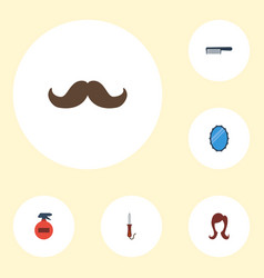 flat icons female looking-glass spray and other vector image vector image