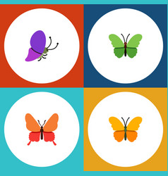 flat moth set of danaus plexippus butterfly vector image vector image