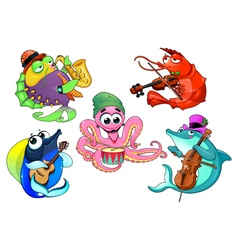 Funny group of musician sea animals vector