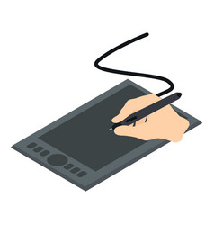 graphics tablet icon isometric 3d style vector image vector image