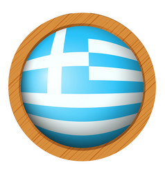 greece flag on round wooden badge vector image vector image