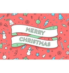 Greeting card with trendy ribbon and text merry vector