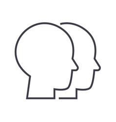 heads line icon sign vector image