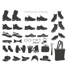 icons and items of clothing silhouettes vector image