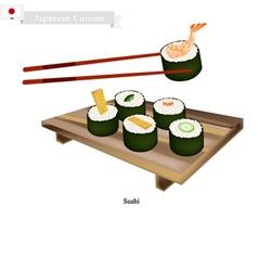 Japanese nori roll a popular dish in japan vector