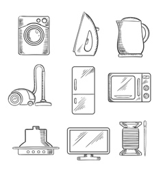Kitchen and home appliance sketched icons vector