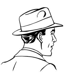 Man hat profile line art vector