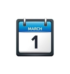 March 1 calendar icon flat vector