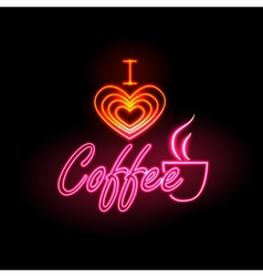 Neon sign i love coffee vector