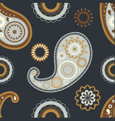 Oriental paisley seamless patterns floral vector