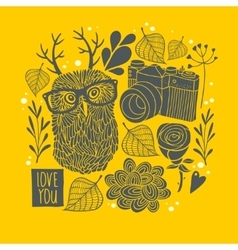 Owl in eyeglasses with horns on the autumn vector image vector image