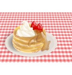 Pancakes on a checkered tablecloth vector
