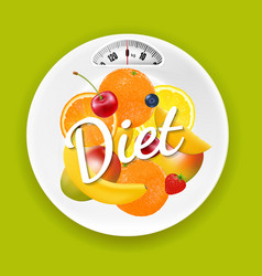 plate with weight scale and fruits vector image