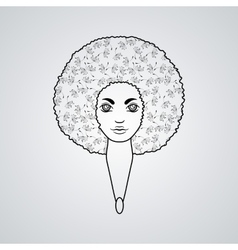 Portrait of a woman with luxuriant hair in the vector image vector image