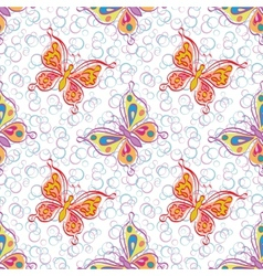 Seamless pattern outline colorful butterflies vector image vector image