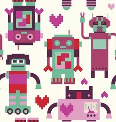 Seamless pattern with robots vector image vector image
