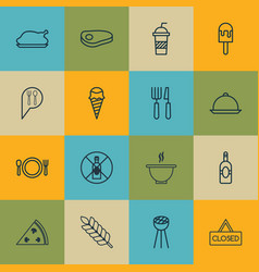 Set of 16 food icons includes cutlery grill vector