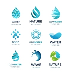 Set of water wave and drop icons symbols vector