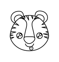 sketch silhouette of kawaii caricature face tiger vector image vector image