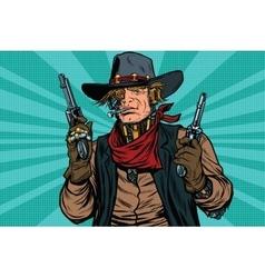 Steampunk robot cowboy bandit with gun vector