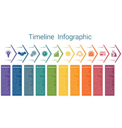 Timeline infographic 10 color arrows vector