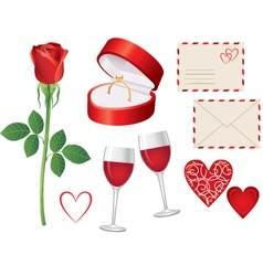 Valentine day icon set vector image vector image