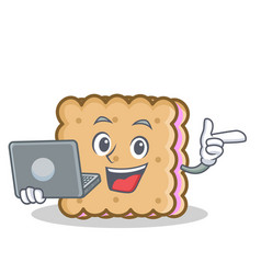 with laptop biscuit cartoon character style vector image