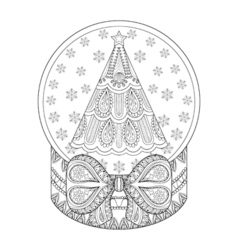 zentangle snow globe with Christmas tree Hand vector image vector image