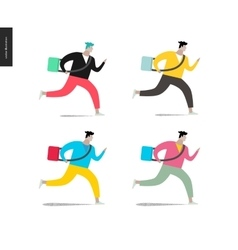 Young man running with a bag in four colors vector image