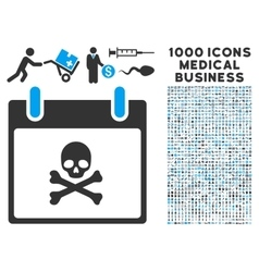 Death skull calendar day icon with 1000 medical vector