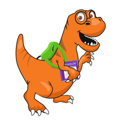Cute dinosaur with glasses and textbook vector