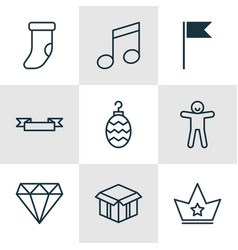 set of 9 new year icons includes open cardboard vector image