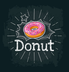 Donut with pink icing and white stripes vector