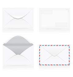 set of white blank envelopes 01 vector image