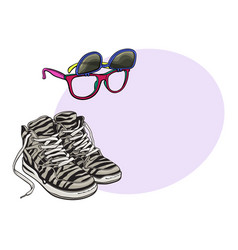 Personal items from 90s - high sneakers vector