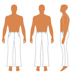 Flare man pants silhouette in flare pants vector