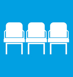 Chairs in the departure hall icon white vector