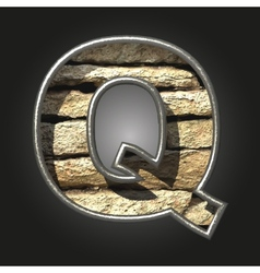 Old stone letter q vector