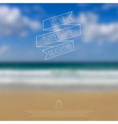 Blurred sea beach background with symbol text and vector