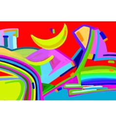 Original digital art abstract colorful composition vector
