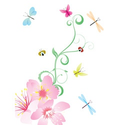 flower corner with butterflies vector