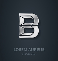 Letter b elegant silver font template for company vector