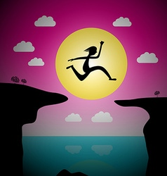 Jumping over precipice cartoon - man or woman leap vector