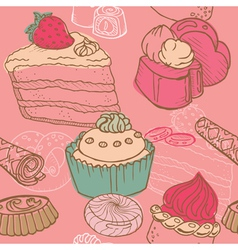 Cakes sweets and desserts vector